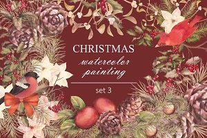 Watercolor Christmas Set 3