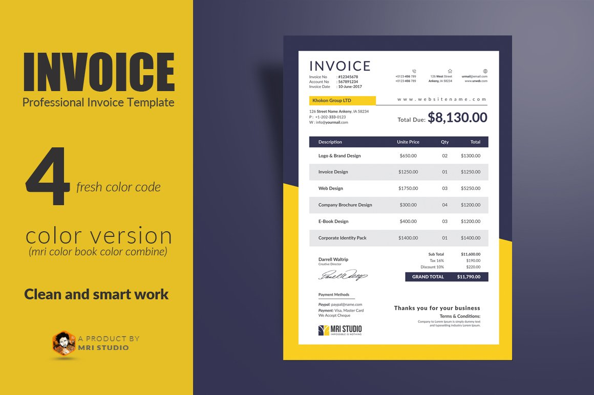 Creative Invoice Template Stationery Templates Creative Market - Free printable invoice templates online antique store