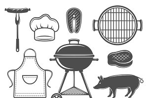 BBQ Decorative Graphic Icons Set
