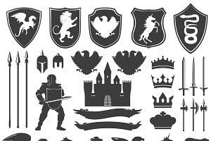 Heraldry Decorative Icons Set