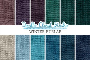 Winter Burlap Fabric