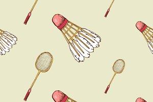 Badminton seamless pattern