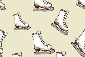 Seamless pattern with racing skates