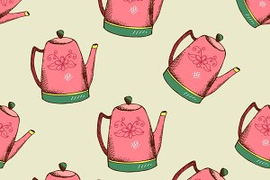 Vintage pattern with kettle