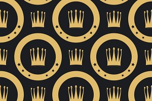 Golden crown seamless pattern