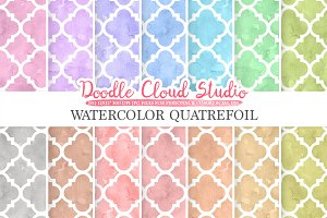 Watercolor Quatrefoil digital paper