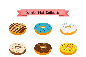 Sweets donuts flat icons