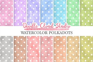 Watercolor Polkadot digital paper