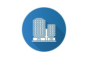 Office building flat design long shadow glyph icon