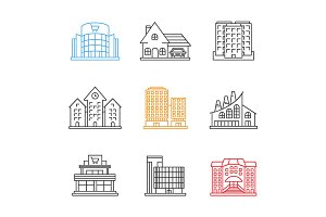 City buildings linear icons set