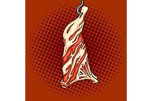 Cow beef on hook pop art vector illustration