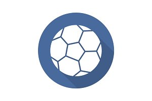 Soccer ball flat design long shadow glyph icon