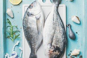 Fresh Sea bream raw uncooked fish