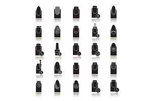 Manicure drop shadow black glyph icons set