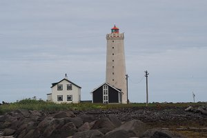 Grotta Island Lighthouse, Reykjavik, Iceland.
