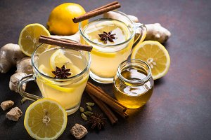 Ginger tea with lemon, honey and spices.