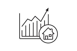 Real estate market growth chart linear icon