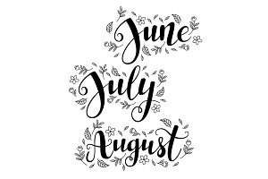 Cute brush calligraphy of summer months of the year