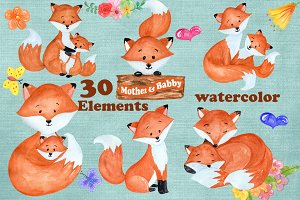 Watercolor Fox clipart