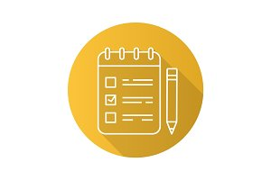To do list flat linear long shadow icon