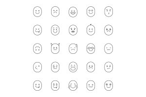 Smileys linear icons set