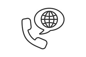 International phone call linear icon