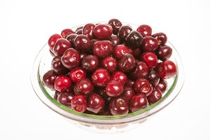 Bowl of cherries isolated