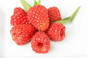 Red raspberries isolated