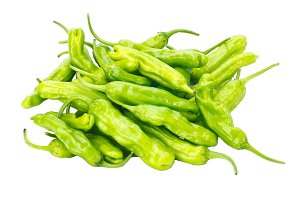 Padrone peppers isolated