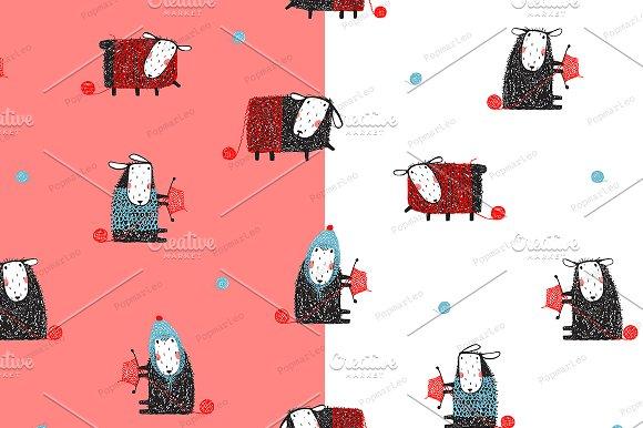 Sheep Knitting Seamless Pattern
