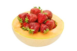 Cantaloupe with strawberries