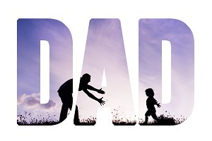 Father with open arms and his son outdoors. Fathers day concept.