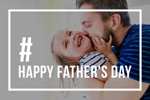 Hipster father kissing little daughter. Fathers day concept.