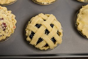 Fruit pies on tray