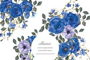Watercolor Blue Rose Floral Clip Art
