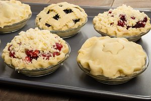 Fruit pies ready to bake