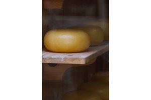 Dutch cheese in a showcase