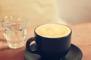 Hot cup of caramel macchiato