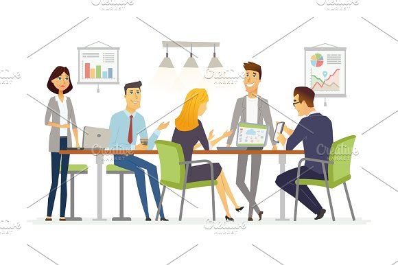 Business Discussion Modern Vector Cartoon Characters Illustration