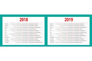 2018 and 2019 calendar. Print Template. Portrait Orientation. Set of 12 Months. Planner for 2018 and 2019 Year.