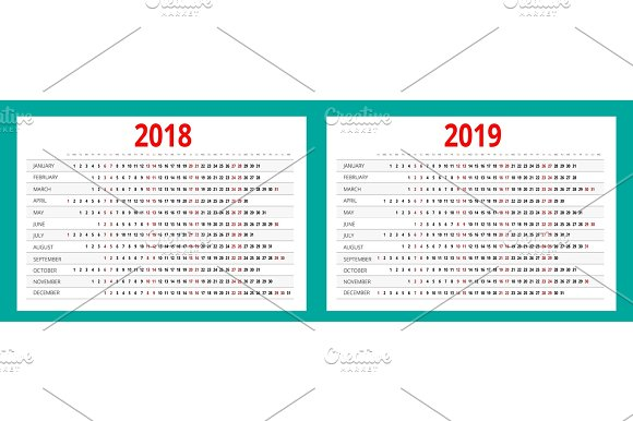 2018 and 2019 calendar print template portrait orientation set of 12 months
