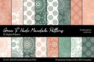 Green & Nude Mandala Digital Papers