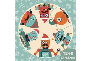 Christmas Illustration with Robots