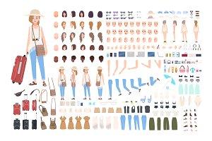 Girl traveler character constructor