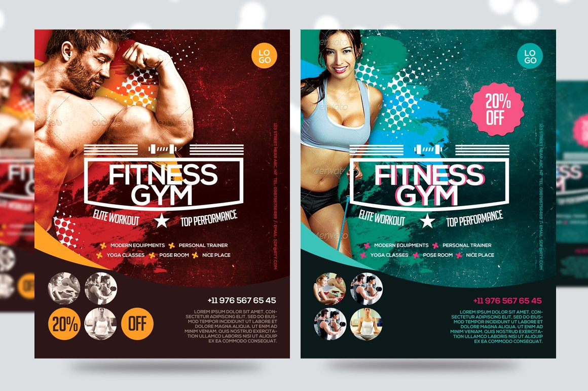 fitness flyer gym flyer v7 flyer templates creative market. Black Bedroom Furniture Sets. Home Design Ideas