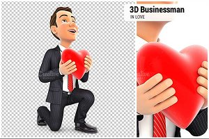 3D Businessman in Love