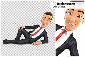 3D Businessman is Lying on the Floor