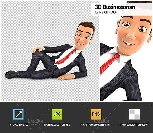 3D Businessman is Lying on the Floor