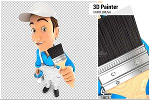 3D Painter Holding Paint Brush