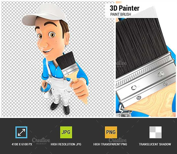 3D Painter Holding Paint Brush